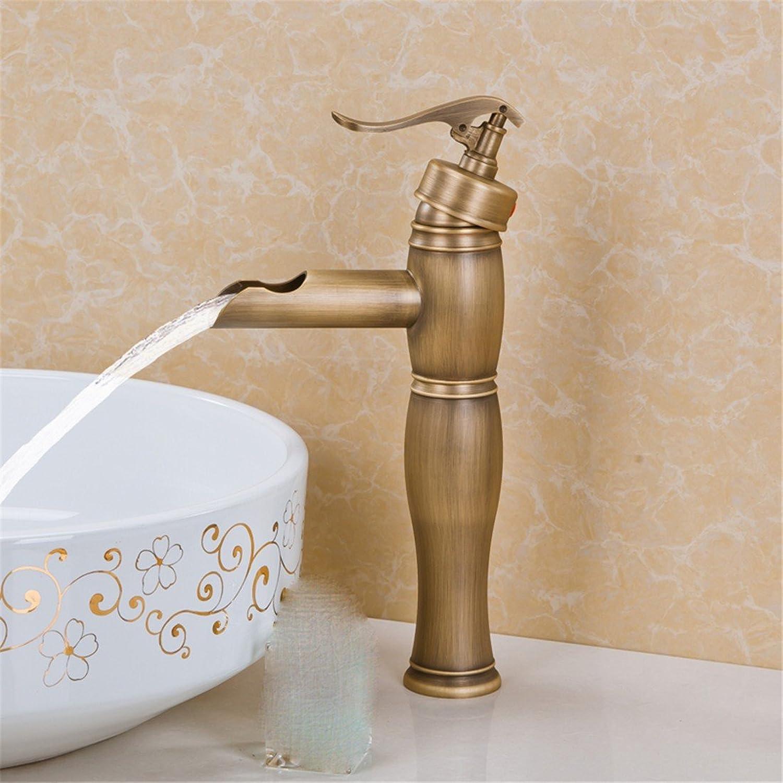 LHbox MEI JIA Yi kontinentales Warmes und Kaltes Wasser Waschbecken Wasserhahn Wasserhahn Messing Antik Wasserhahn Warmes und Kaltes 12