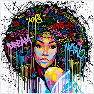 GUAngqi Women Unframed Canvas Printing Wall Decor Painting Art Canvas African American Wall Art with No Frame