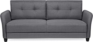 Best Choice Products 76in Contemporary Linen Fabric Upholstered Sofa Couch Lounger - Dark Gray