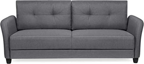 Best Choice Products 76 inch Linen Fabric Upholstered Contemporary Sofa Couch Lounger, Dark Gray