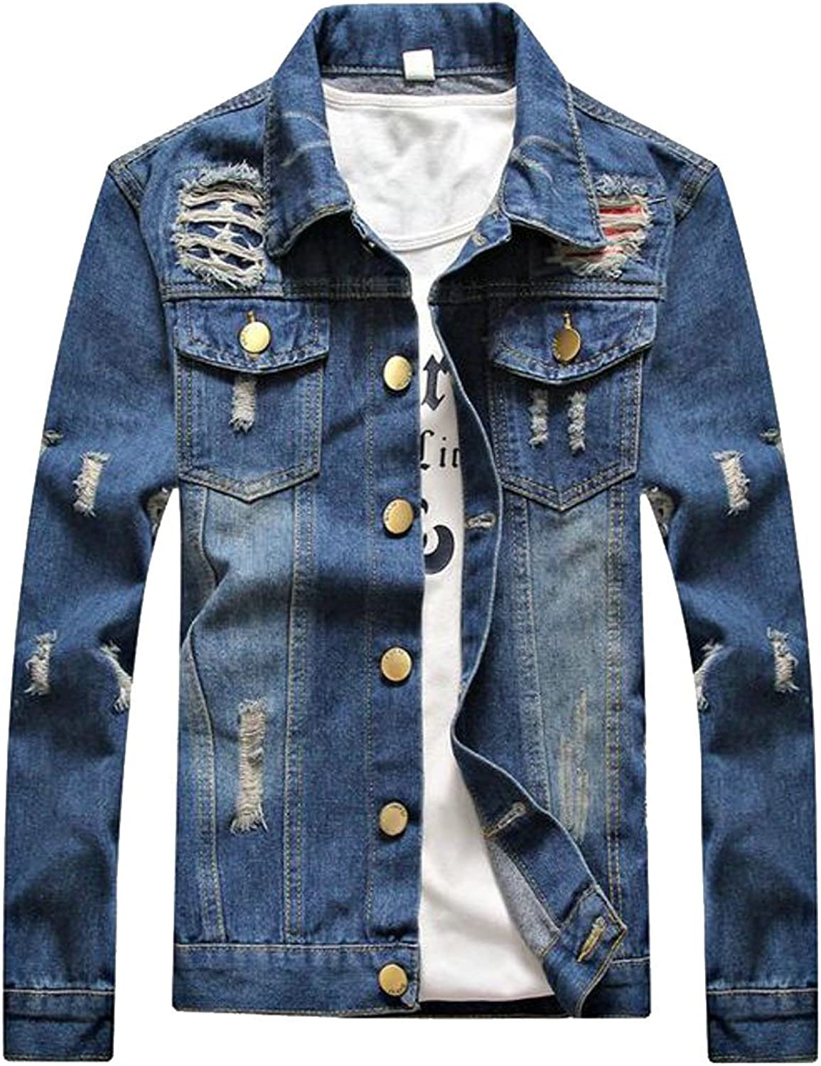 Lutratocro Mens Classic Fit Outwear Distressed Coat Western Western