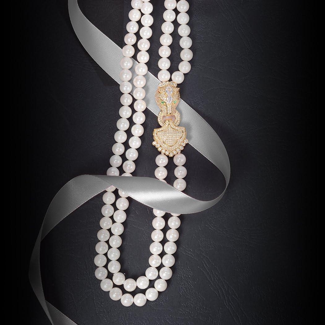 ART KIM Luxury Gold-Plate Rhinestone Pendant Single Strand Pearl Tassels Necklaces (Leopard-2)