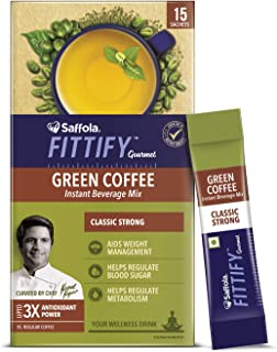 Saffola FITTIFY Gourmet Green Coffee Instant Beverage Mix for Weight Management – 30g (Classic Strong, 15 Sachets)