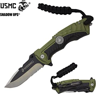 USMC Officially Licensed US Marines Ball Bearing Action Blade Tactical Rescue Knife Belt Case