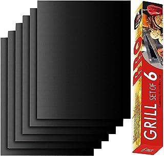Grill Mat-set de 6Heavy Duty antiadhésif Tapis de grille pour barbecue, Extended Warranty, 40x 33cm Renook noir
