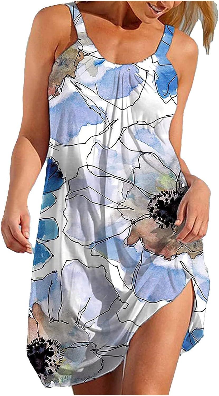 Oiumov Summer Dresses for Women Beach Spring Striped Print Cute Dress Cover Up Sundress Sleeveless Casual Boho Dress