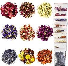 9 اكياس زهور مجففة (20 غرام/كيس) لتزيين الصابون والشموع، تتضمن بتلات الورد واللافندر والياسمين والزنبق وجومفرينا جلوبوسا و...