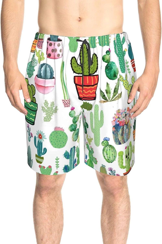 JINJUELS Mens Bathing Suits Cartoon Green Cactus Swim Boardshorts Drawstring 3D Printed Athletic Beach Short with Pockets