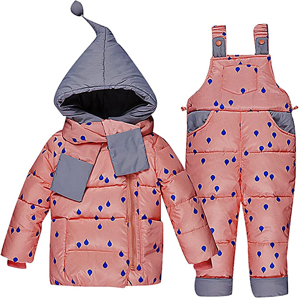 BPrincess Kids 2 Color Printed Eclectic Detail Hooded Duck Down Pants & Jacket