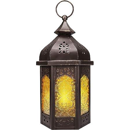 Métal Verre lanterne Farol Design Classique Photophore Chandelier Lampe 30 cm