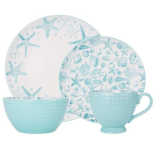 Pfaltzgraff Venice 16-Piece Stoneware Dinnerware Set, Service for 4, Aqua/White -