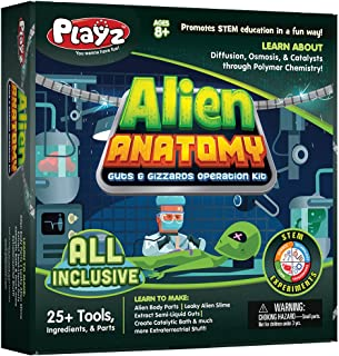 Playz Alien Anatomy Guts & Gizzards Operation Science Kit - 25+ Tools to Make Alien Body Parts & Slime, Extract Yucky Gut...