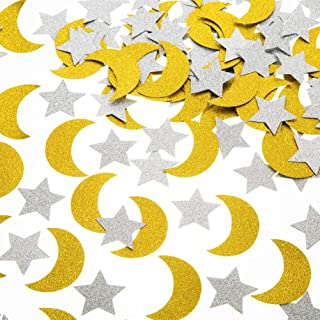 Glitter Paper Confetti Star and Moon for Table Wedding Birthday Eid Party Decoration, 1.2 inch in Diameter(Gold,Silver,200pc)