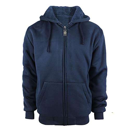 106db5fa2bf TanBridge Heavyweight Sherpa Lined Plus Sizes Warm Fleece Full Zip Mens  Hoodie with Padded Sleeve