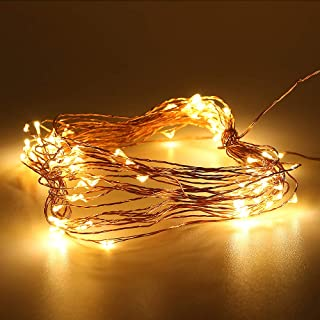 LPINYE Christmas Light String, Battery Powered Warm White 33ft 100 LEDs Copper Wire Super Thin String Stars LED Fairy Lights Weddings and Parties, Indoor/Outdoor, CE, FCC, ROHS Certification