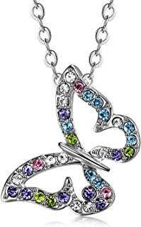 Gift for Girls White Gold Plated Butterfly Multi-color Swarovski Elements Austraina Crystal Pendant Necklace