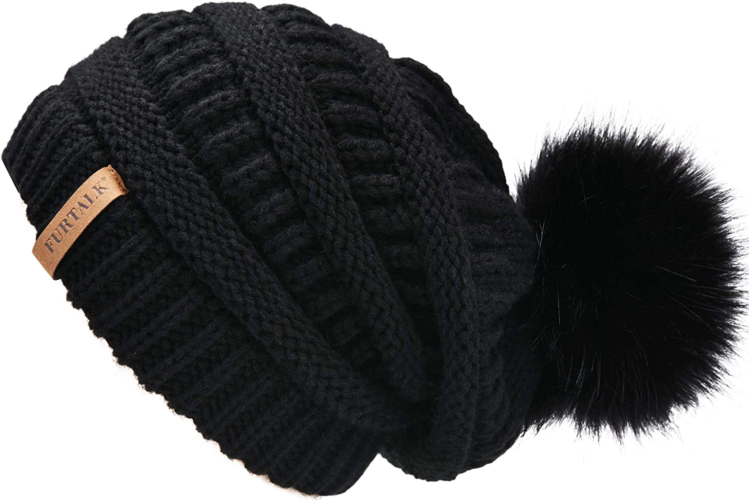 FURTALK Womens Slouchy Winter Hats Knitted Beanie Caps Real Fur Pom Pom Bobble Hat