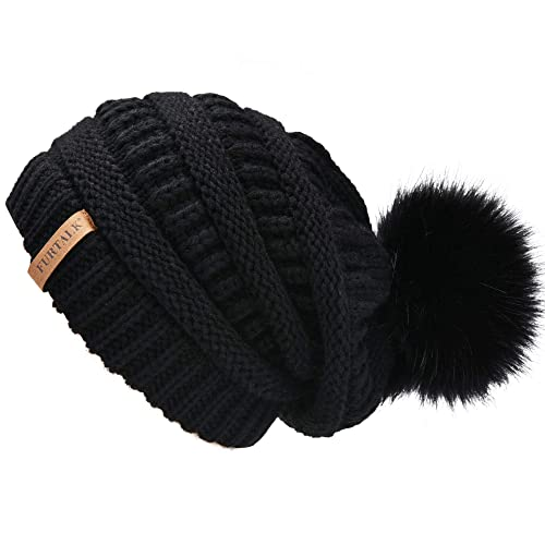 8fd897ac29c FURTALK Women s Thick Slouchy Real Fox Raccoon Fur Pom Pom Winter Knit Beanie  Bobble Hat