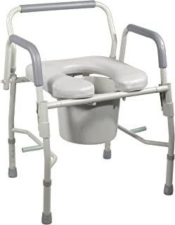 Portable Bedside Commode. 300-Pound Capacity. BOTH ARMS DROP. Adjustable Legs. Easy Transfer From Bed Or Wheelchair To Portable Commode. CAREGIVERS Use This For Mobility Challenged Loved Ones!
