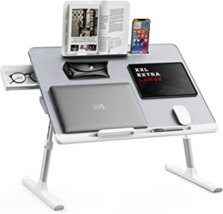 Laptop Bed Tray Desk, SAIJI Adjustable Laptop Stand for Bed, Foldable Laptop Table with Storage Drawer for Eating, Workin...