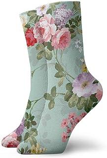 Kevin-Shop, Shabby Chic Flores Rosas Pedales Puntos Hojas Brotes Temporada de Primavera Tema Calcetines de Vestir Calcetines Divertidos Calcetines Locos Calcetines Casuales