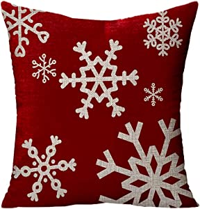 Newhomestyle Throw Pillow Cover Happy Holidays Baby Its Cold Outside Joy Snowflakes Red Cotton Home Decor Square Cushion Pillowcase 16x16 in