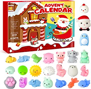 Toy Advent Calendar 2019 Christmas Countdown Calendar 24 different cute mochi squishies including Santa!24Pcs Kawaii Squishies Animals Relief Stress Toys Dinosaur Shark Squeeze Toy for Kids Adults
