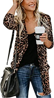 Women Lightweight Cardigan Leopard Printed Button Down Cardigans Shirt W Pockets(S-2XL