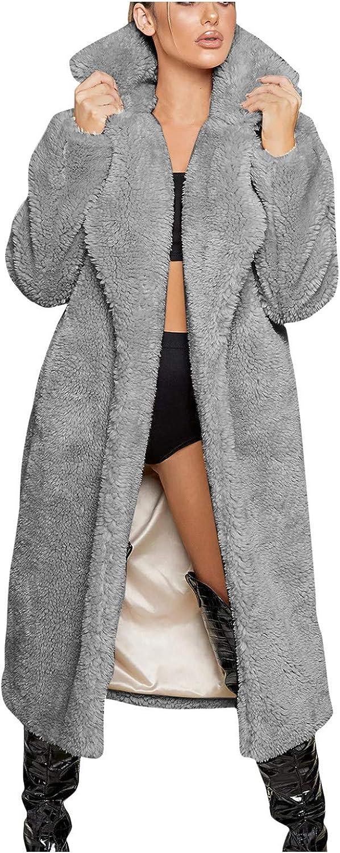 Limsea Women's Fuzzy Fleece Open Front Long Cardigan Coat Faux Fur Warm Winter Outwear Jackets with Pockets
