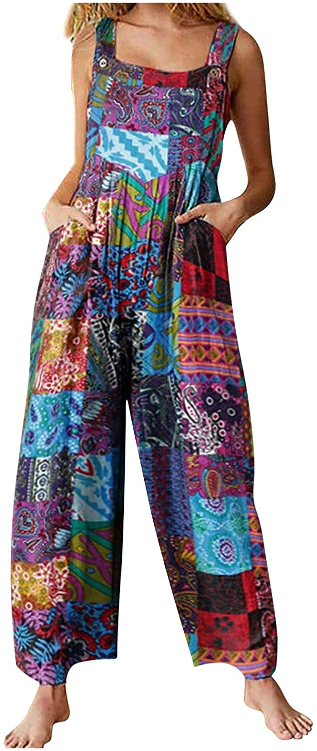 Women's Wide Leg Vintage Jumpsuit Straight Suspender Pants Casual Comfy Trousers Loose Bohemian Sleeveless Rompers