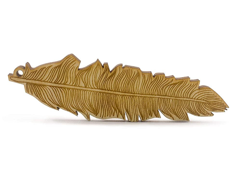 Summer-Ray Laser Cut Wooden Feather Scrapbooking Embellishment Jewelry Making (4.1 Inches (20pcs))