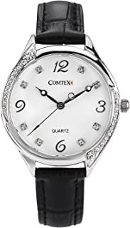 Comtex Orologio da donna analogico al quarzo, in pelle nera con diamanti di cristallo, resistente all'acqua