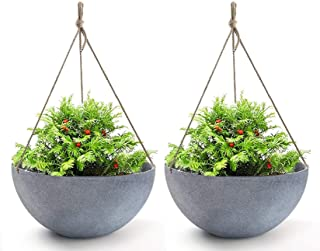 Hanging Planters Large 13.2 In Resin Flower Pots Outdoor Garden Planters for Plants Large Grey Set of 2 for Fathers Day Gift