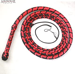Ardour Crafts 6 to 16 Feet Long Nylon para-Cord Bullwhip 16 Plaits Paracord Custom Bull Whip with Leather Belly & Bolster Construction Red & Black