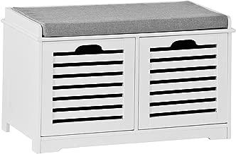 SoBuy Banco de Almacenamiento con Cojines y 2 Cubos de
