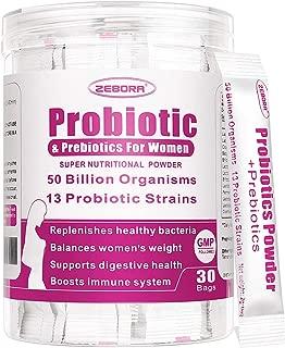 Probiotics for Women 50 Billion CFU, 13 Strains, Supports Vaginal, Digestive and Immune Health, Prebiotic Fiber No Refrigeration, Gluten & Soy Free 30 Bags