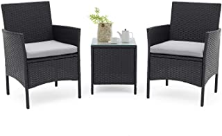 Patiomore 3 Pieces Outdoor Bistro Set Cushioned Furniture Set Black Wicker with Coffee Table, Grey Cushion