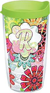 Tervis 1267213 INITIAL-R Flower Burst Tumbler with Wrap and Lime Green Lid 16oz, Clear