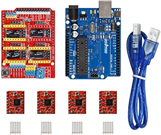 Gowoops 3D Printer kit CNC Shield V3 Expansion Board + OSOYOO Basic Board for Arduino + 4PCS A4988 Step Motor Driver with Heatsinks for Arduino