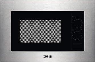 Zanussi ZMSN6DX Microondas Integrable con Grill de 700W, 6 niveles de potencia, Mando giratorio, Programa de descongelacion rápida, Pulsador para apertura, Marco Integrado, Negro/Inox, 20L