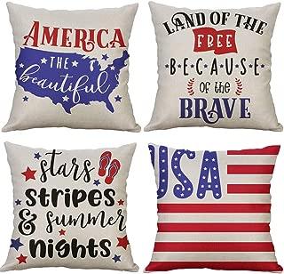LEVOSHUA 4 Pack American Flag Pillowcase Throw Pillow Case Cushion Cover Patriotic 4th of July Cotton Linen Pillowcase Home Decorative for Sofa 18