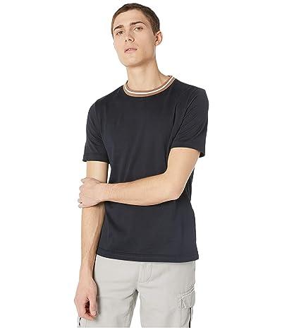 eleventy Stripe Detail Crew Neck T-Shirt (Navy) Men