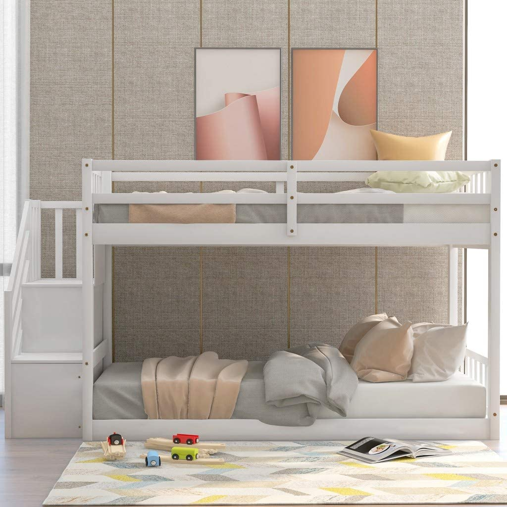 Buy Low Bunk Beds Twin Over Twin Size Solid Wood Bunk Bed With Storage And Guardrail For Kids And Toddler Online In Indonesia B08768dmch
