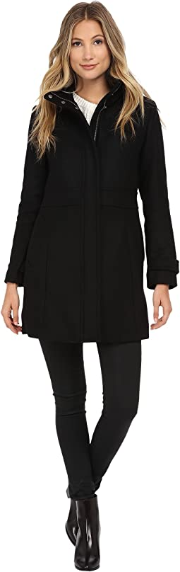 Single Breasted Coat with Stand Collar