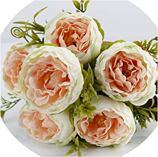 winkstores 6 Head/Bouquet Peony Artificial Flower Silk Peony Bouquet White Pink Wedding Home Decoration,5