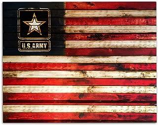 US Army Logo on USA Flag- Rustic Poster Print- 10 x 8