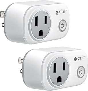 Criacr Upgraded Mini Smart Plug, WiFi Wireless Control Sockets with Energy Monitoring, Timing Function, Work with Amazon Alexa and Google Home, Remote Control by Smartphone from Anywhere (2 PACK)