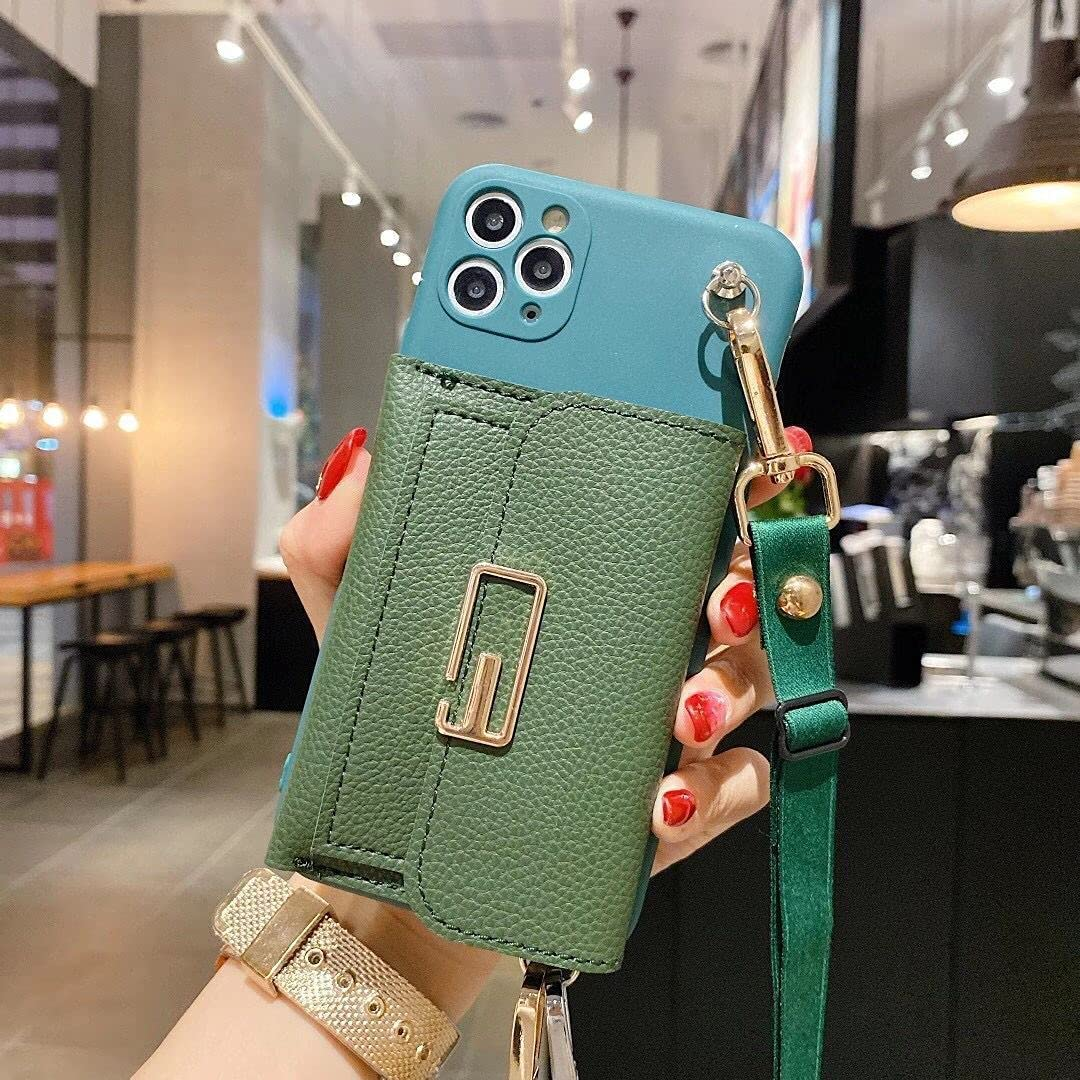 ISYSUII Crossbody Wallet Case for Samsung Galaxy Note 20 Card Holder Case with Wrist Strap Kickstand Removable Shoulder Strap Soft Leather Purse Protective Cover Gift for Women Girl,Green
