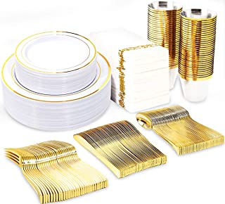 BUCLA 350PCS Gold Plastic Plates With Disposable Plastic Silverware&Hand Napkins- Gold Plastic Dinnerware With Gold Rim In...