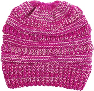 Wiwsi Girl Messy High Bun Ponytail Stretchy Knit Beanie Skull Winter Warm Cap Hat